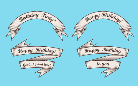 Set of vintage ribbons with inscription Happy Birthday. Retro greeting banners. Vector illustration. Çizim