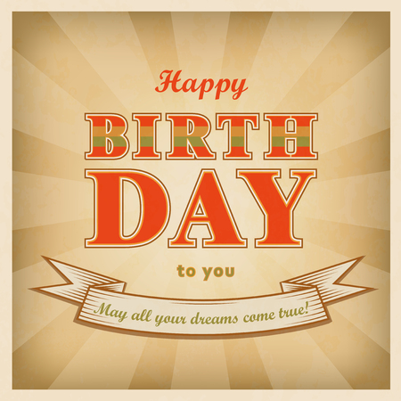 Vintage style Happy birthday background. Retro square greeting card. Vector illustration.