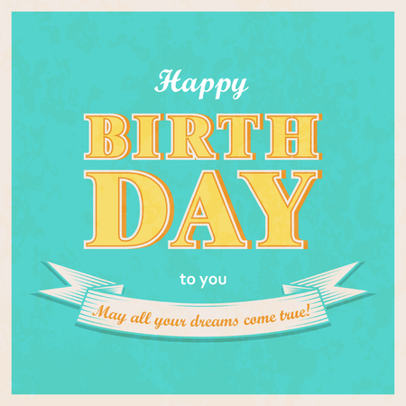 Vintage style Happy birthday background. Retro square greeting banner. Vector illustration.