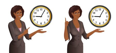 African woman point to clock. Smiling cute businesswoman. Concept of the time limit, term, deadline. Isolated vector illustration.