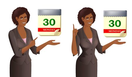 Portrait of African woman with calendar. Smiling cute businesswoman point to date. Concept of the time, deadline. Isolated vector illustration. Vectores