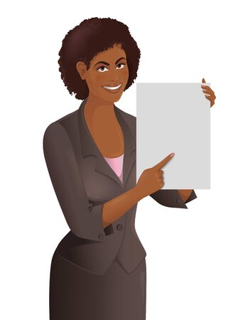 African woman holds empty white paper sheet. Smiling cute girl demonstrates blank page for your text. Isolated vector illustration. Vettoriali