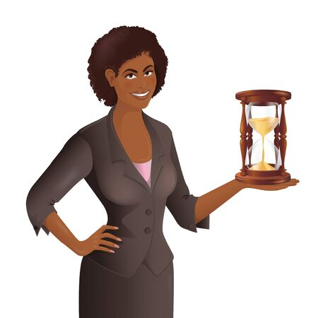 Portrait of African woman holding an hourglass in her hand. Smiling cute businesswoman with a sandglass. Concept of the time, deadline. Isolated vector illustration. Vettoriali