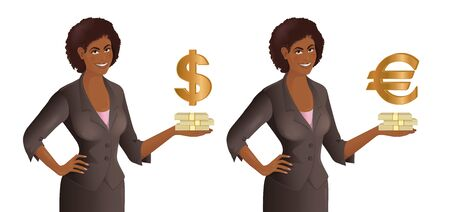 African woman holds bundles of money. Smiling cute businesswoman with stack of cash and dollar and euro symbols. Business concept. Isolated vector illustration. Vettoriali