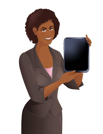 African woman holds tablet. Smiling cute girl demonstrates electronic gadget. Isolated vector illustration. Vettoriali