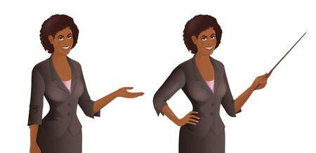 African woman wearing suit points to something. Smiling cute young women with pointer and demonstrating gesture. Vector illustration isolated on the white background.