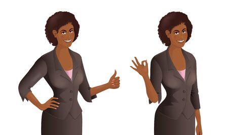 Set of two African women wearing business suit. One woman shows thumb up signal, another one demonstrates Ok gesture. Vector illustration isolated on the white background.  イラスト・ベクター素材