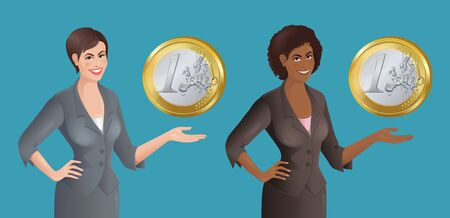Set of African and European women with Euro coin. Business concept. Isolated vector illustration. Vettoriali