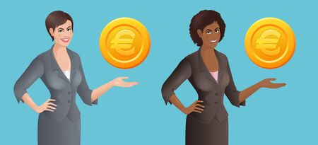 Set of African and European women with stylized Dollar coin. Business concept. Isolated vector illustration.