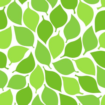 Green leaves seamless pattern. Spring or summer leaves texture on the transparent background. Vector illustration.