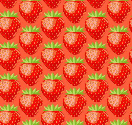 Seamless pattern with juicy strawberries. Bright background with berries. Vector illustration.