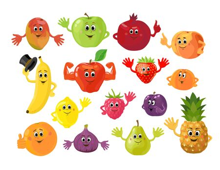 Set of cartoon funny fruits and berries. Cute fruit and berry with smiling faces and greeting gestures. Vector illustration isolated on the white background.