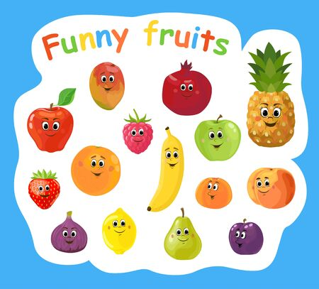 Set of cartoon funny fruits and berries. Cute fruit and berry with smiling faces. Vector illustration isolated on the white background.
