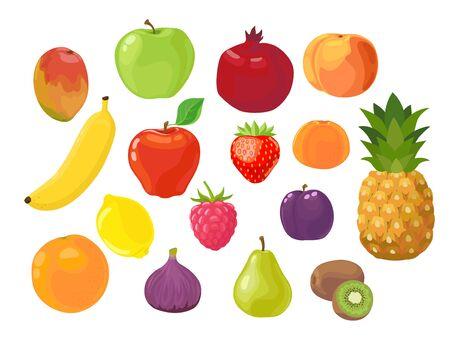 Set of fruits and berries. Apple, banana, pineapple, pear, plum, lemon, orange, strawberry, raspberry, fig, mandarin, peach, pomegranate, mango and kiwi fruit isolated on the white background. Vector  Ilustração