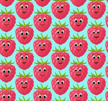 Seamless pattern with funny cute raspberries. Kawaii berries. Vector illustration.