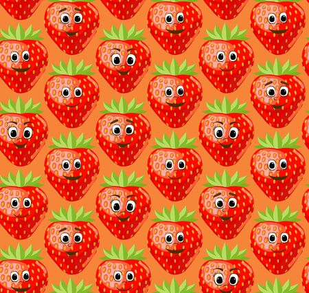 Seamless pattern with funny cute strawberries. Kawaii berries. Vector illustration. Vettoriali