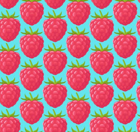 Seamless pattern with juicy raspberries. Bright background with berries. Vector illustration. Vettoriali