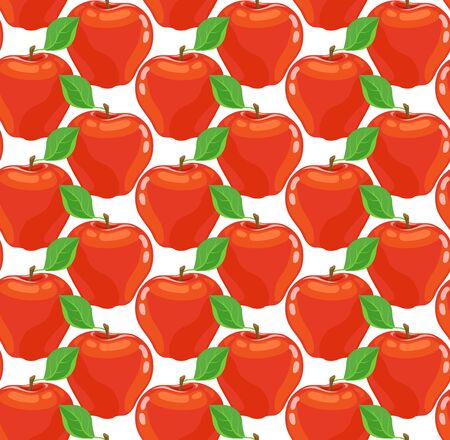Seamless pattern with juicy red apples on the white background. Bright background with fruits. Vector illustration.