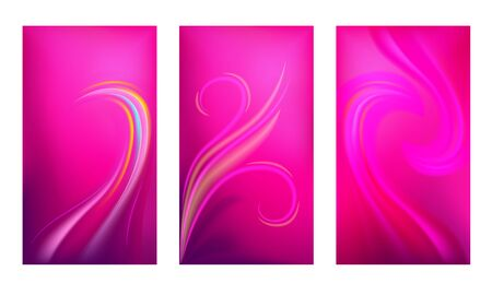 Set of vertical abstract gradient backgrounds. Vibrant color screen wallpaper template. Vector illustration.
