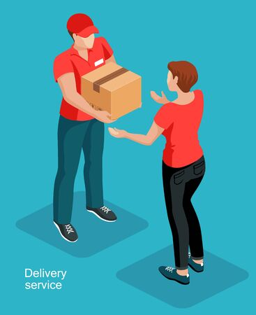 The deliveryman gives the box to the woman customer. Door to door delivery service concept. Isometric vector illustration.