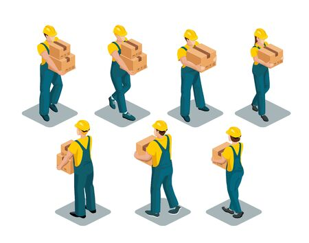 Warehouse workers  wearing yellow T-shirts, coveralls and safety helmets hold boxes in their hands. Isometric image. Vector set isolated on white background Vettoriali