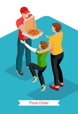 Courier  wearing a red T-shirt and a cap demonstrate the delivered pizza to the woman customer and happy jumping child. Pizza delivery service concept. Isometric vector illustration.