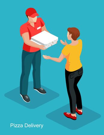 Courier  wearing a red T-shirt and a cap deliver pizza to the woman customer. Pizza order to door service concept. Isometric vector illustration.