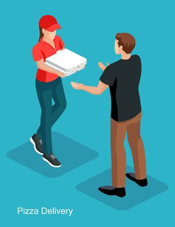 Courier  woman wearing a red T-shirt and a cap deliver pizza to the man customer. Pizza order to door service concept. Isometric vector illustration.