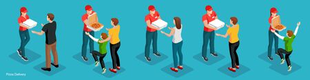 Set of isometric figures pizza couriers and customers men, women, children. Collection of  pizza order to door service concept. Vector illustration. Vettoriali