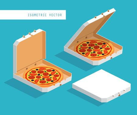 Isometric image of white boxes with pizza: closed, open, ajar. Vector illustration set.