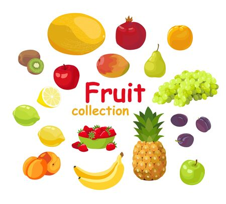 Set of fruits and berries isolated on white background. Pineapple, apple, plump, mango, melon, grape, strawberry, lemon, peach, banana, pear, kiwi fruit, orange, pomegranate, lime. Vector illustration