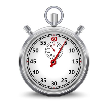Realistic stopwatch isolated on the white background. Vector illustration.
