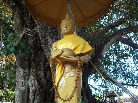 limosna: Buda con limosnas cuenco Foto de archivo