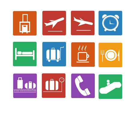 Airport icon  Flat icons set Vector