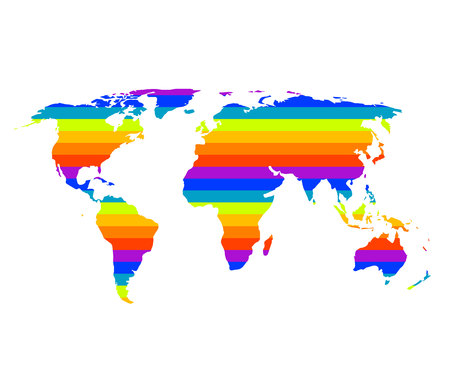 multicolor world map in gay pride concept Vector