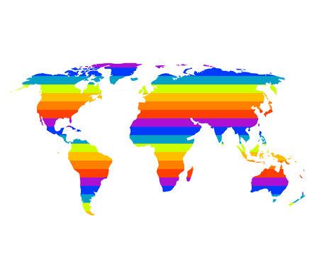 multicolor world map in gay pride concept Vector