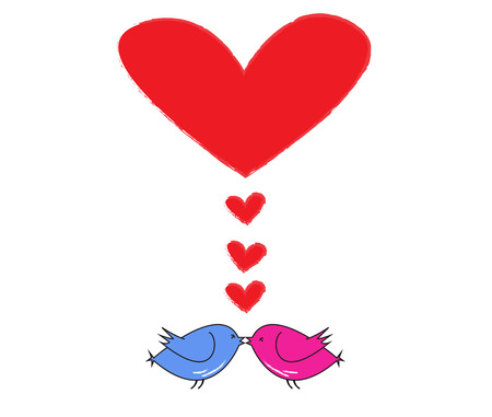 two birds kiss with red heart for valentine s day  Vector