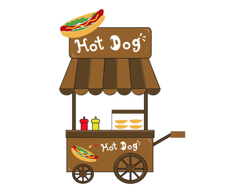 street vendor: booth stand hot dog vendor  Illustration