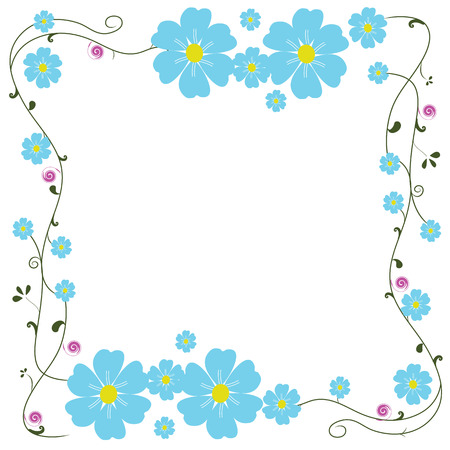 frame blue flower vector 일러스트