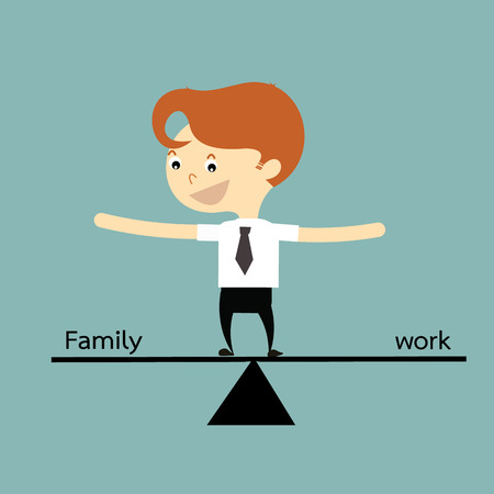 a lifestyle: businessman standing balance life with family and work vector