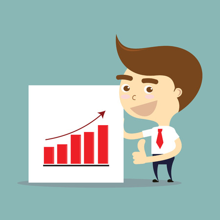 thumbs up business: businessman thumbs up with success of growing chart vector