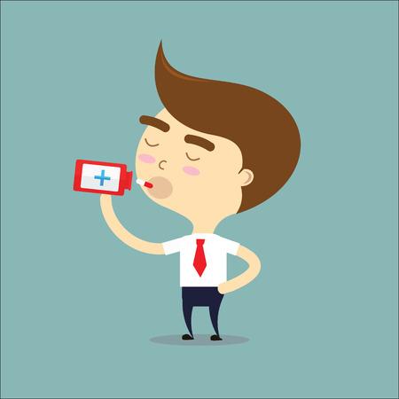 businessman swallow medicine vector