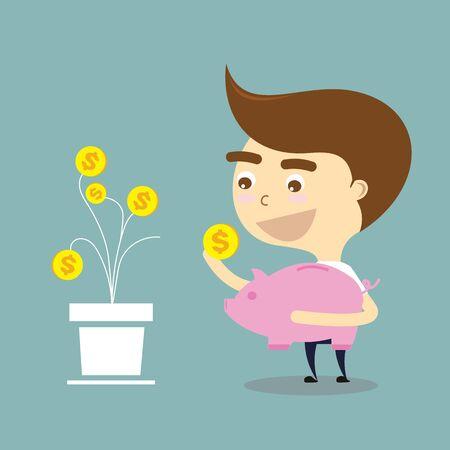 pick money: hombre de negocios recoger dinero con el signo de d�lar a cuestas vector banco Vectores
