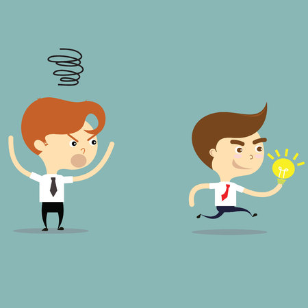 steal brain: businessman steal idea and friend is angry vector Illustration