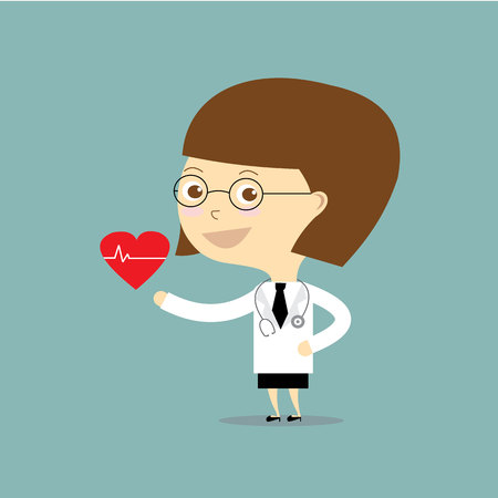 caregivers: woman doctor standing with take red heart vector