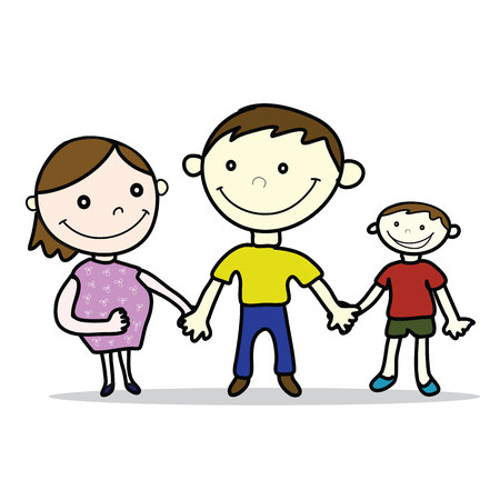 conceive: father and mother pregnant smile with son cartoon style isolated Illustration