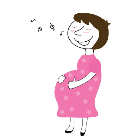 craving: mother pregnant happy and singing for baby