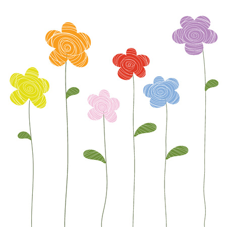 flowers doodle color vector
