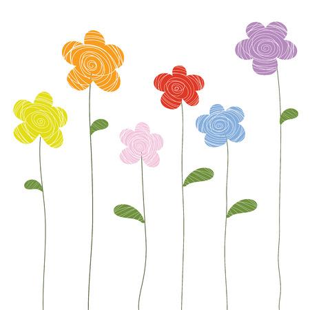 flowers doodle color vector