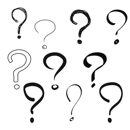 Black Question mark hand drawn vector set